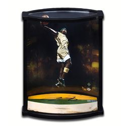 "LeBron James Signed ""Airborne"" Game-Used Floor Piece Curve Display (UDA COA)"