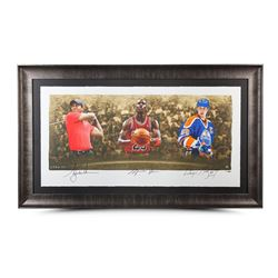 "Wayne Gretzky, Michael Jordan  Tiger Woods Signed LE ""Icons of Sport"" 34"" x 57"" Custom Framed Print"