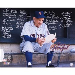Casey Stengel 1969 Mets 16x20 Team-Signed Photo by (20) With Al Jackson, Jay Hook, Don Zimmer, Roger
