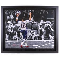 "Tom Brady Signed LE Patriots ""Touch Down Celebration"" 39"" x 47"" Custom Framed Photo Display (TriStar"