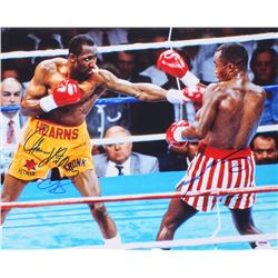 "Sugar Ray Leonard  Tommy ""Hitman"" Hearns Signed 16x20 Photo (PSA COA)"