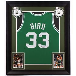 Larry Bird Signed Celtics 31.5x36.5 Custom Framed Jersey (PSA COA)