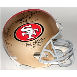 "Dwight Clark Signed 49ers ""The Catch"" Full-Size Helmet with Hand-Drawn Play Inscribed ""The Catch""  """