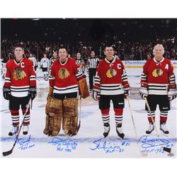 Chicago Blackhawks Hall of Famers 16x20 Photo Signed by (4) with Bobby Hull, Tony Esposito, Stan Mik