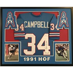 "Earl Campbell Signed Oilers 35""x 43"" Custom Framed Jersey Inscribed ""HOF 91"" (JSA COA)"