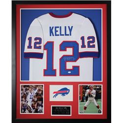 "Jim Kelly Signed Bills 35"" x 43"" Custom Framed Jersey (JSA COA)"