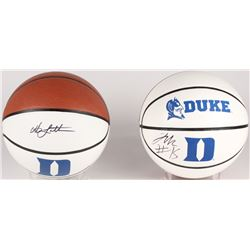 Lot of (2) Signed Duke Blue Devils Logo Basketballs with (1) Signed by Jahlil Okafor  (1) Signed by