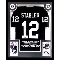 Ken Stabler Signed Raiders 34x42 Custom Framed Career Highlight Stat Jersey (Radtke COA)