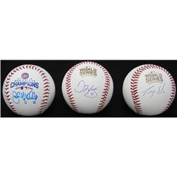 Lot of (3) Signed 2016 World Series Champions Logo Baseballs with (1) Jorge Soler  (1) John Mallee