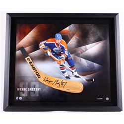 Wayne Gretzky Signed LE Oilers 25x29 Custom Framed Hockey Stick Blade Display (UDA COA)