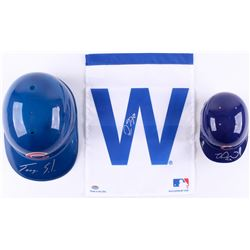 Lot of (3) Signed Cubs Baseball Items with (1) Miguel Montero Mini Batting Helmet, (1) Jorge Soler F