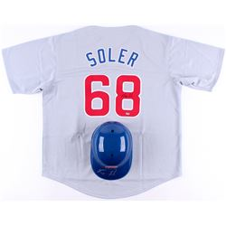 Lot of (2) Jorge Soler Signed Cubs Baseball Items with (1) Batting Helmet  (1) Jersey (Schwartz COA)
