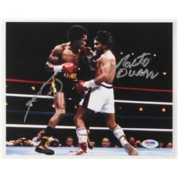 Roberto Duran  Sugar Ray Leonard Signed Boxing 8x10 Photo (PSA COA)