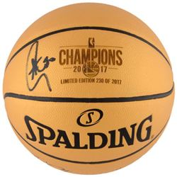 Stephen Curry Signed Warriors 2017 NBA Champions Logo Basketball (Fanatics Hologram)