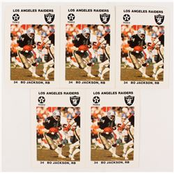 Lot of (5) 1988 Raiders Police #9 Bo Jackson Football Cards