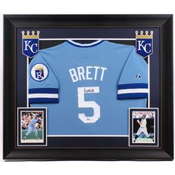 George Brett Signed Royals 31.5x36.5 Custom Framed Jersey Display (Beckett COA)