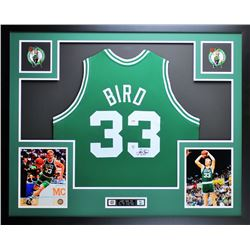 "Larry Bird Signed Celtics 35"" x 43"" Custom Framed Jersey (PSA COA  Bird Hologram)"