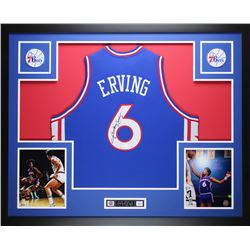 "Julius Erving Signed 76ers 35"" x 43"" Custom Framed Jersey (JSA COA)"
