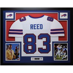 "Andre Reed Signed Bills 35"" x 43"" Custom Framed Jersey (JSA COA)"