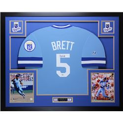 "George Brett Signed Royals 35"" x 43"" Custom Framed Jersey Inscribed ""HOF 99"" (Beckett COA)"