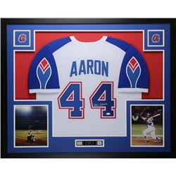 "Hank Aaron Signed Braves Throwback 35"" x 43"" Custom Framed Jersey (JSA COA)"