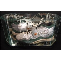 Brett Favre Signed Game Worn Pair of Cleats with High Quality Display Case (Grey Flannel LOA  JSA AL