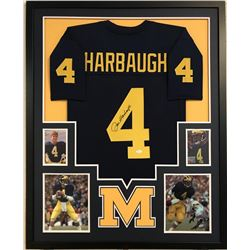 "Jim Harbaugh Signed Michigan Wolverines 34"" x 42"" Custom Framed Jersey (JSA COA)"