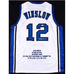 Justise Winslow Signed Duke Blue Devils Career Highlight Stat Jersey (PSA COA)