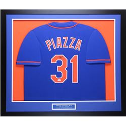 Mike Piazza Signed Mets 32x37 Custom Framed Jersey (JSA COA)