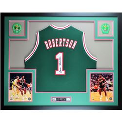 Oscar Robertson Signed Bucks 35x43 Custom Framed Jersey Display (JSA COA)