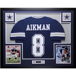 "Troy Aikman Signed Cowboys 35"" x 43"" Custom Framed Jersey (PSA COA)"