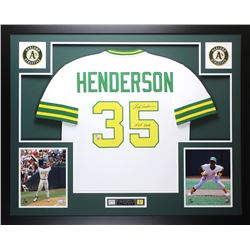 "Rickey Henderson Signed Athletics 35x43 Custom Framed Jersey Inscribed ""HOF 2009"" (Fanatics Hologram"