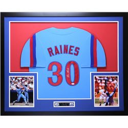 Tim Raines Signed Expos 35x43 Custom Framed Jersey (JSA COA)