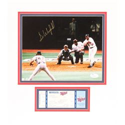 Dave Winfield Signed Twins 13.5x15 Custom Matted Photo Display With Twins vs. Athletics Ticket (JSA