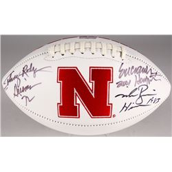 Johnny Rodgers, Mike Rozier  Eric Crouch Signed Nebraska Logo Football With Heisman Inscriptions (Ra