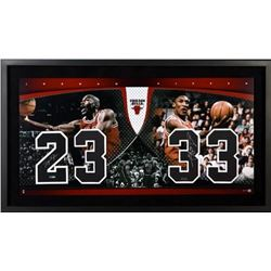 Michael Jordan  Scottie Pippen Signed LE 22x40 Custom Framed Jersey Number Display (UDA COA)