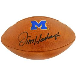 Jim Harbaugh Signed Michigan Wolverines Logo Football (JSA COA)