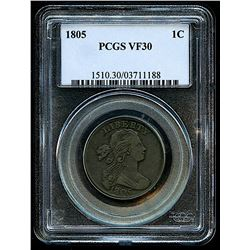 1805 Draped Bust Large 1¢ One-Cent Piece (PCGS VF 30)