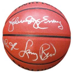 Julius Erving, Magic Johnson  Larry Bird Signed Full-Size Spalding NBA Basketball (Beckett COA)