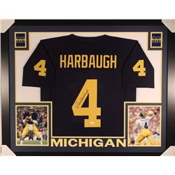 Jim Harbaugh Signed Michigan Wolverines 35x43 Custom Framed Jersey Display (JSA COA)