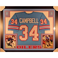"Earl Campbell Signed Oilers 35x43 Custom Framed Jersey Inscribed ""HOF 91"" (JSA COA)"