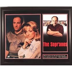 "James Gandolfini  Edie Falco Signed ""The Sopranos"" 16x20 Custom Framed Photo Display With (2) Inscri"