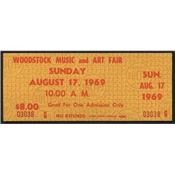 Authentic Unused Woodstock Ticket from Sunday August 17, 1969