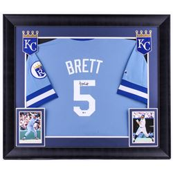 George Brett Signed Royals 31.75x36.75 Custom Framed Jersey Display (Beckett COA)