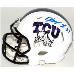 Kenny Hill Signed Texas Christian University Horned Frogs Mini Speed Helmet (JSA COA)