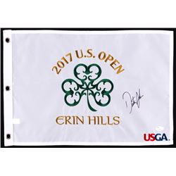 Dustin Johnson Signed 2017 US Open Pin Flag (JSA COA)