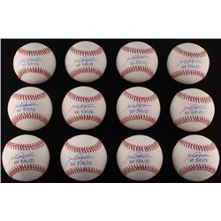 "Lot of (12) Mike Fiers Signed OML Baseballs Inscribed ""NH 8/21/15"" (LOJO COA)"