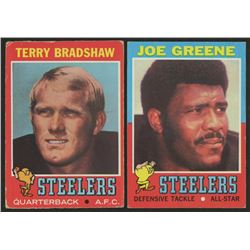 Lot of (2) 1961 Topps Football Cards with #245 Joe Greene RC  #156 Terry Bradshaw RC