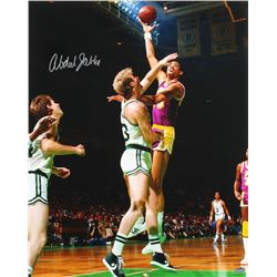 Kareem Abdul-Jabbar Signed Lakers 16x20 Photo with Larry Bird (Schwartz COA)