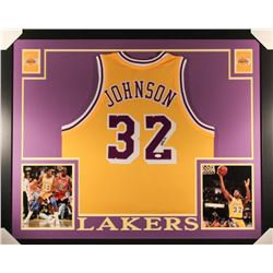 "Magic Johnson Signed Lakers 35"" x 43"" Custom Framed Jersey (JSA COA)"